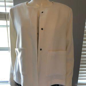 White button front textured blazer